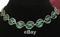 Vintage David Andersen DA Leaf Enamel Sterling Silver 925 Necklace Norway 14