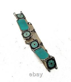 Vintage David Andersen Enamel Bracelet Sterling DA Norway Green & Black Bracelet