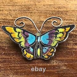 Vintage David Andersen Enamel Butterfly Pin Norway. 925 Silver