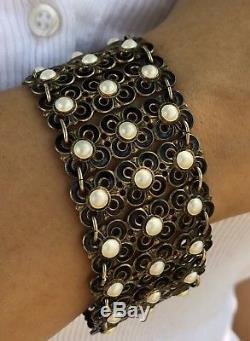 Vintage David Andersen Gilt Sterling Silver Norway Black & White Enamel Bracelet