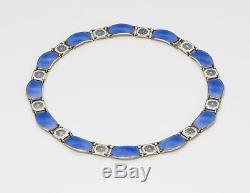 Vintage David Andersen Guilloche Enamel & Sterling Silver Necklace