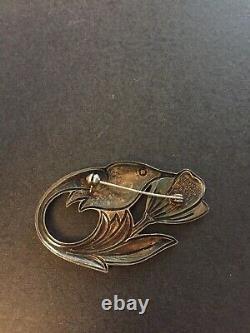 Vintage David Andersen Hummingbird Pin / Brooch Guilloche Enamel Sterling 925