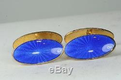 Vintage David Andersen Norway Royal Blue Enamel Sterling Silver Cufflinks