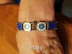 Vintage David Andersen Norway Sterling Silver- Blue Enamel Bracelet