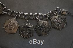 Vintage David Andersen Norway Sterling Silver Zodiac Charm Bracelet Full Set