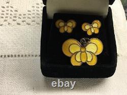 Vintage David Andersen Norway Sterling Yellow Enamel Butterfly Pendant, Earrings