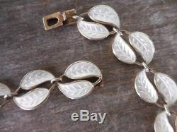 Vintage David Andersen Norway White Guilloche Enamel & Sterling Leaf Necklace