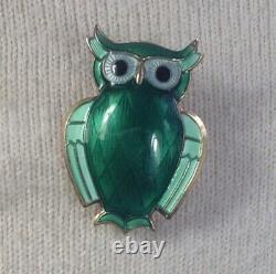 Vintage David Andersen Owl Brooch Norwegian Sterling Silver, Green Enamel