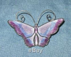 Vintage David Andersen Sterling Purple and Blue Enamel Butterfly Brooch Pin # 2