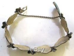 Vintage David Andersen Sterling Silver Enamel Bracelet RARE Water Lily Motif