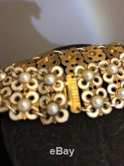 Vintage David Andersen Sterling Silver Flower Modernist White Enamel Bracelet 7