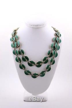 Vintage David Andersen Sterling Silver Green Enamel Necklace Set #1a