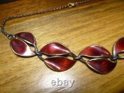 Vintage David Andersen Sterling Silver Red Enamel Double Leaf Necklace 15