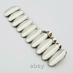 Vintage David Andersen White Enamel Sterling Modernist Bracelet Norway