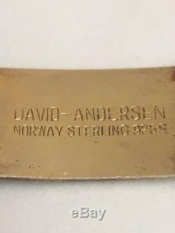 Vintage David Anderson Red Guilloche Enamel Sterling Silver Bracelet Norway