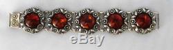 Vintage Denmark Sterling Silver Amber Daisy Flower Bracelet By Ne From