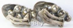 Vintage Denmark Sterling Silver Grapes Bracelet Earrings Set Cof Frydensberg