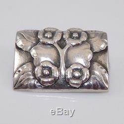 Vintage Early Georg Jensen #66 Sterling Silver Modernist Flower Pin Brooch ZD