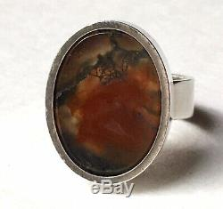 Vintage Elis Kauppi Kupittaan Kulta Sterling Silver Moss Agate Ring Modernist 7