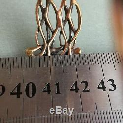 Vintage Finland Hannu Ikonen REINDEER MOSS Bronze Panel Bracelet 19.5cm W 2.2cm