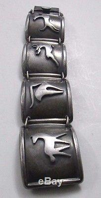 Vintage Finn Jensen Norway Sterling Silver Curved Panes Bracelet 7 102.3 Grams