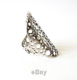 Vintage Finnish Modernist Lisa Vitali Sterling Silver Pitsi Ring