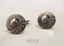 Vintage GEORG JENSEN DENMARK Rare Sterling Silver Shell Cufflinks