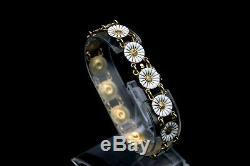 Vintage GEORG JENSEN Sterling Silver & Enamel Daisy Marguerite Bracelet, Denmark