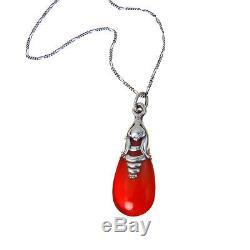 Vintage GRANN & LAGLYE Sterling Silver Amber Pendant Necklace Rare Jugendstil