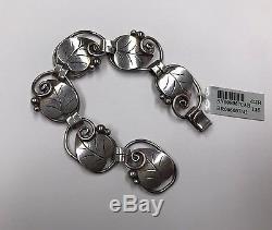 Vintage Georg Jensen Denmark 925 Sterling Silver Modernist Leaf Vine Bracelet
