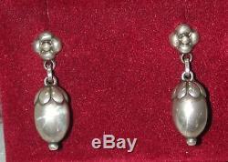 Vintage Georg Jensen Denmark Acorn Pierced Dangle Earrings Sterling Silver #4