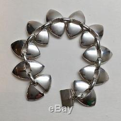 Vintage Georg Jensen Denmark Sterling Silver Marquise Link Bracelet 106, 6 1/4