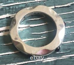 Vintage Georg Jensen Denmark Sterling Silver Mirror Ring Amethysts Us 7 Eu 54