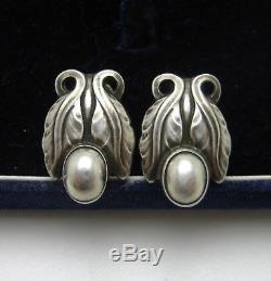 Vintage Georg Jensen Earrings 108 Sterling Silver Denmark Danish Screw Back