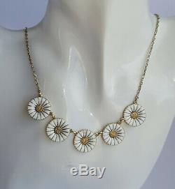 Vintage Georg Jensen Gilded Silver 925s White Enamel 5 DAISY Necklace 18mm