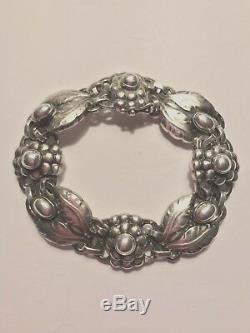Vintage Georg Jensen Sterling Silver Bracelet withh Flowers & Leaves Signed