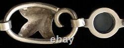 Vintage Georg Jensen Sterling Silver Floral Design Moonstone Bracelet #817B