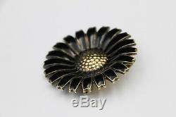 Vintage Georg Jensen Sterling Silver n Black Enamel Daisy Brooch Denmark 42 mm