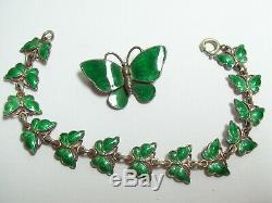 Vintage Green Enamel & Sterling Denmark VOLMER BAHNER Butterfly Bracelet & Pin