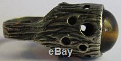 Vintage Hallmarked Modernist Sterling Silver Wild Tiger Eye Ring