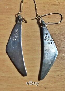 Vintage Hans Hansen Denmark Sterling Silver Boomerang Necklace Bracelet Earrings