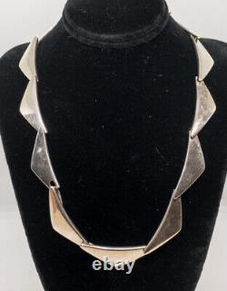 Vintage Hans Hansen Peak Sterling Silver Link Necklace Danish