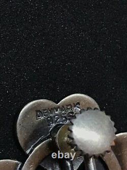 Vintage Hans Hansen Sterling Silver Denmark Heart Clover Earrings