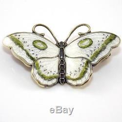 Vintage Hroar Prydz Sterling Silver Modernist Enamel Butterfly Pin Brooch LDA36