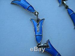 Vintage IVAR HOLT Norway STERLING & Guilloche Enamel NECKLACE & PENDANT BLUE