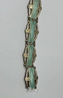 Vintage Ivar Holth Norway Sterling Silver Enamel Bracelet