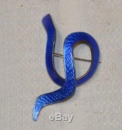 Vintage J. Tostrup MCM Sterling Silver and Blue Enamel Brooch Pin Norway 57