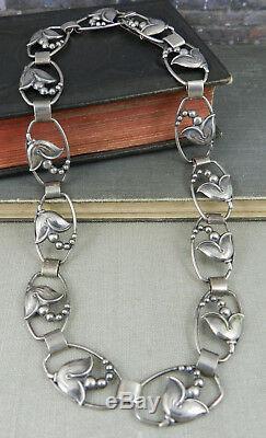 Vintage John L. Lauritzen Denmark Sterling Silver Tulip Flower Necklace