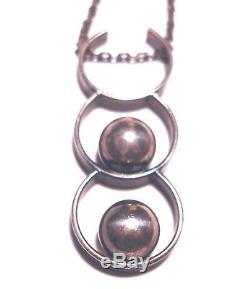 Vintage KK KALEVALA KORU Sterling 925 3 Ring ORB 23 MODERNIST NECKLACE Finland