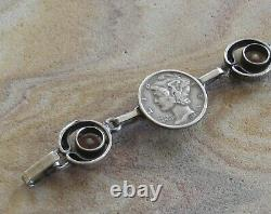 Vintage Karl Laine Sten & Laine Finland Sterling Silver Rock Crystal Bracelet